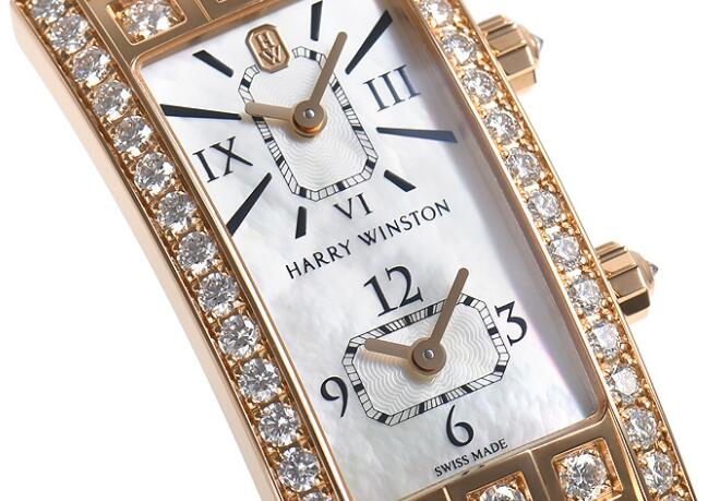The square white mother-of-pearl dials can display dual time zone clearly.