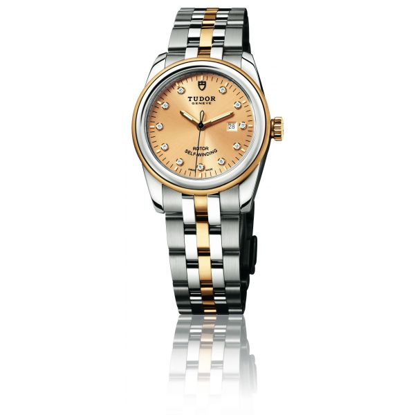 The whole watch bodies are made from polished steel and shiny yellow gold.