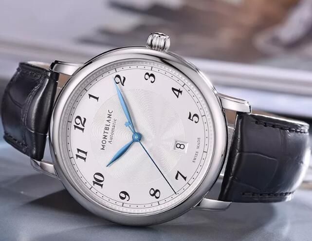 The blue hands add the brilliance to the understated timepiece.
