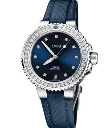 The blue satin strap matches the blue dial perfectly.