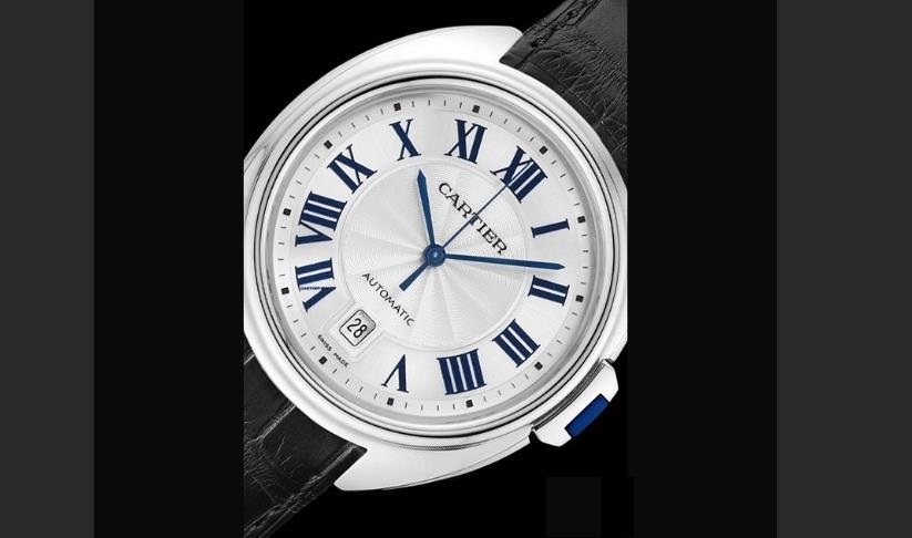 The 18k white gold copy watches have silvery dials.