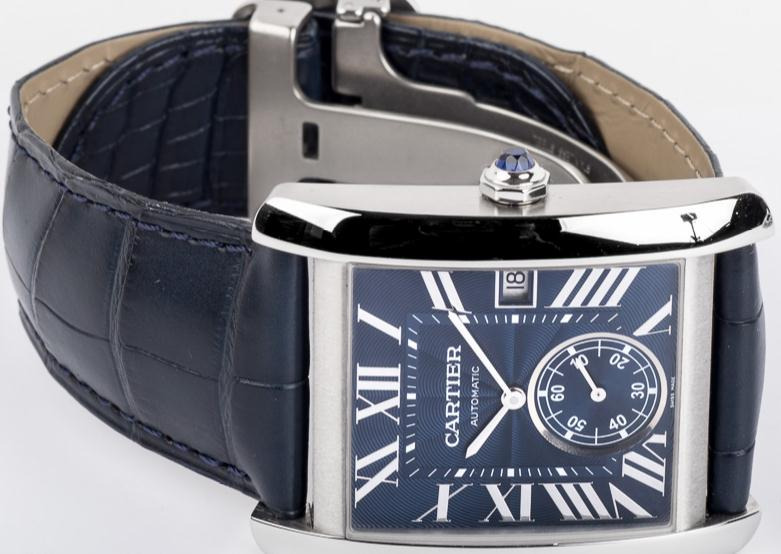 The srainless steel copy watches have blue straps.